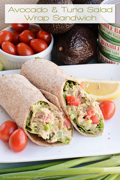 Avocado and Tuna Salad Wrap | Easy meal with less fat than traditional tuna salad...the avocado is a delicious addition! - Replace mayo with greek yougurt!