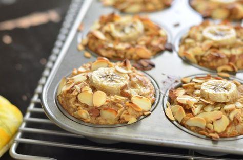 Banana Almond Baked Oatmeal Cups (Vegan)// good; 1/2 recipe made 7