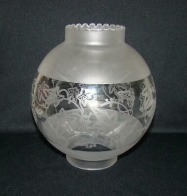 Vintage Frosted Etched Ivy Astral Solar Glass Lamp Shade W