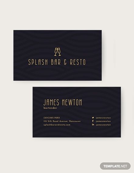 Bartender Business Card Template Word Doc Psd Apple Mac Pages Publisher Illustrator Business Card Template Word Printable Business Cards Business Card Template