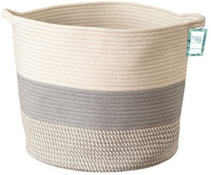 Amazon Com Extra Large Cotton Rope Woven Storage Basket Xl Tall Grey Decor Basket For Blanket Baby Nurs Woven Baskets Storage Blanket Basket Storage Baskets