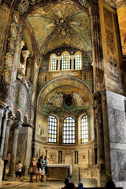 Basilica of San Vitale in Ravenna.The church was begun in 527, when Ravenna was under the rule of the Ostrogoths, and completed in 548 during the Byzantine Exarchate. The church is of extreme importance in Byzantine art, as it is the only major church from the period of the Emperor Justinian I to survive virtually intact to the present day. Furthermore, it is thought to reflect the design of the Byzantine Imperial Palace Audience Chamber, of which nothing at all survives.