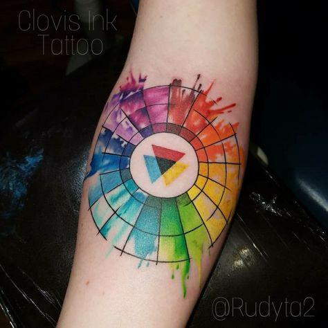 Color Wheel Tattoo Watercolor Style Tattoo Artist Rudy Acosta Clovis Ink Tattoo Clovis Ca Colorta Color Wheel Tattoo Inspirational Tattoos Stylist Tattoos