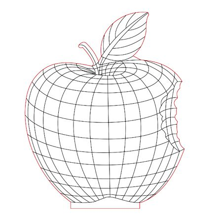 Apple 3d Illusion Lamp Plan Vector File For Laser And Cnc 3bee Studio 3d Illusion Lamp 3d Illusions Laser Engraved Acrylic