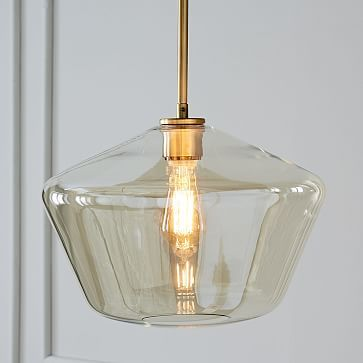 Sculptural Glass Geo Pendant Large Geo Shade Champagne Shade Antique Brass Canopy Pendant Lighting Led Pendant Lights Glass