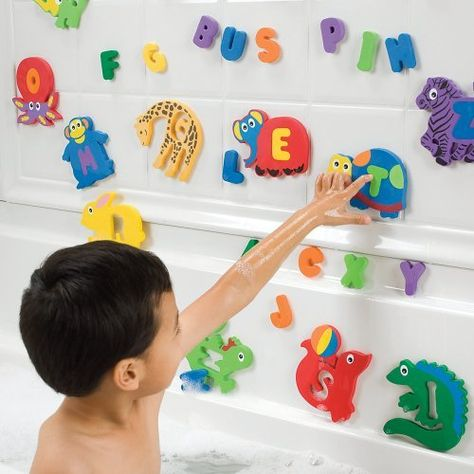 "Foam Bath Toy Letters and Animals for Kids by One Step Ahead. $16.95. A-B-C-D-Elephant! For years, kids have loved our foam bath letters, which make learning the alphabet fun. Well, we just made them more ""wildly"" entertaining, 'cuz now every letter has a matching critter puzzle piece! Float 'em, wet 'em, stick 'em to the wall. Encourages phonics, vocabulary, and creativity. Includes 26 letter-and-animal puzzles (52 pieces total). Mesh storage pouch included. Soft..."