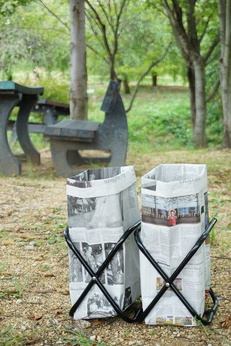 キャンプやbbqに便利 新聞紙で作る簡単ゴミ箱 ゴミ箱 作り方