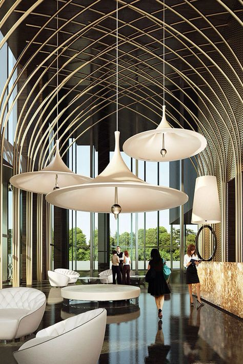 Low hanging lights from a high ceiling are all the rage and are ...