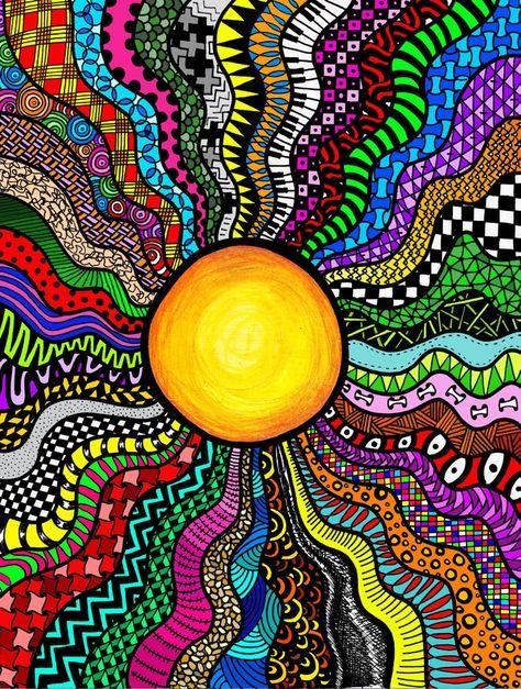grade sun zentangle ززخرفه in 2019 art, doodle art, sun doodles. Trippy Drawings, Zentangle Drawings, Zentangle Patterns, Art Drawings, Trippy Patterns, Mandala Drawing, Zen Doodle Patterns, Trippy Designs, Doodle Borders