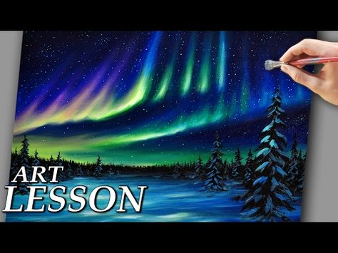 Acrylic Landscape Painting Lesson | Northern lights and night stars - YouTube