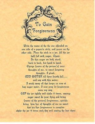 Book of Shadows Spell Pages ** To Gain Forgiveness ** Wicca
