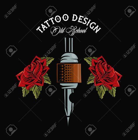 Old school tattoo machine drawing design vector illustration graphic , #spon, #machine, #drawing, #school, #tattoo, #illustration