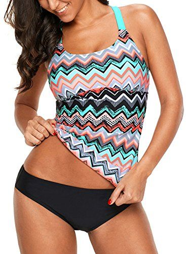 Aleumdr Womens Striped Printed Double Up Tankini Top Sets Swimwear Swimsuits