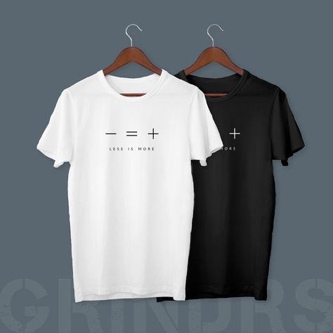 Minimal Black and White Shirt with Less is More abstract art print | Aesthetic and clean design for simple people | Minimalism | Inspiration