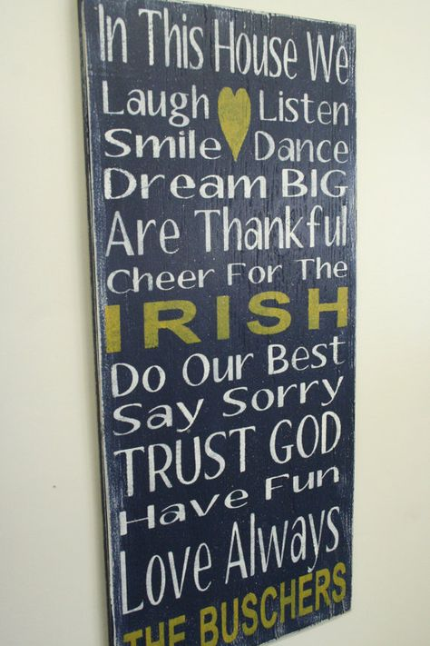 Notre Dame Team Sign Family Rules Sign by RusticlyInspired on Etsy, $60.00