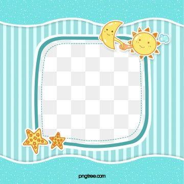 Blue Cute Stripes Sun Moon Baby Frame Baby Clip Art Baby Frame Cartoon Clip Art
