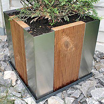 Edelstahl\/Holz Pflanzkübel  Gartendeko  günstig im Online Shop - hochbeet edelstahl kaufen