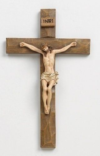 Jesus Driftwood Textured Crucifix 12 Inch Hanging Wall Cross Roman Inc
