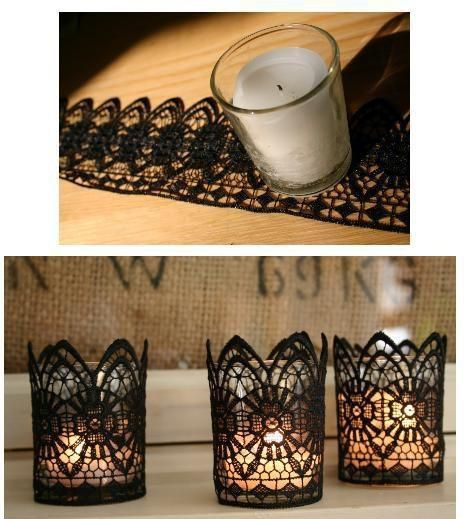 22 Marvelous DIY Ideas For Candle Holders Starch lace, burlap, and shape around glass holder