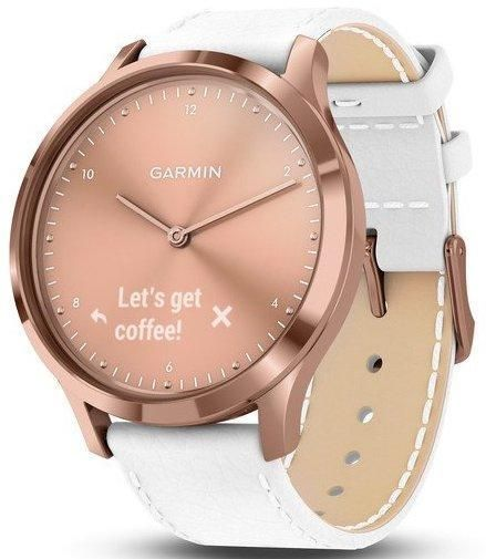 Garmin Watch Vivomove Hr Premium Rose Gold White Leather Add Content Alarm Yes Bezel Fixed Bracelet Strap Leather Br White Rose Gold Leather White Leather