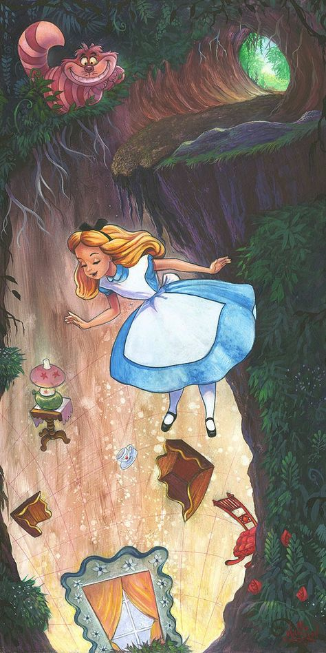 James C Mulligan Down the Rabbit Hole From Alice In Wonderland Hand-Embellished Giclee on Canvas Disney Fine Art