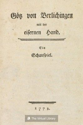 Goethe Schreef Zijn Gotz Von Berlichingen In 1772 1773 Onder Invloed Van Herder Literatuur Schreef Herder