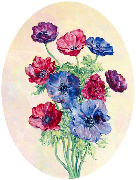 Anemone Bouquet Oil On Canvas Cardboard Oval 30 X 40 Cm Daria Galinski Original Art Oilpainting Anemone Flowers Viole Anemone Bouquet Anemone Art