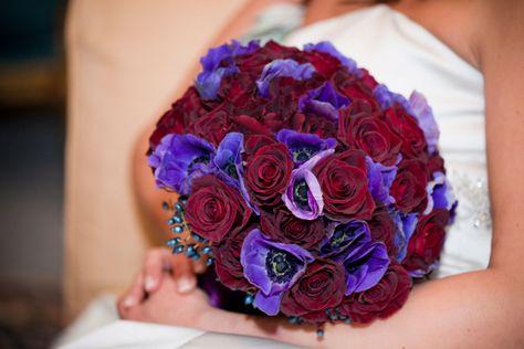Anemones, Black Baccara Roses, Privit Berries