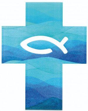 Acrylglas Kreuz Mit Fisch Symbol Durchbrochen