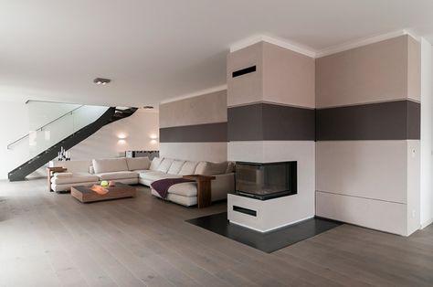 Offene Wohnzimmer mit stylischer Treppe im Raum | Wohnzimmer ...