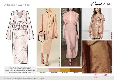 FW 208-19 Trend forecast: TONE-ON-TONE BROCADE DRESS, retro all-over patterns, development designs by 5forecaStore Fashion trend forecasting.