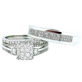 0 75ctw Diamond His And Her Trio Rings Set 10k White Gold 13mm Wide Trio Wedding Sets Trio Ring White Gold Wedding Set