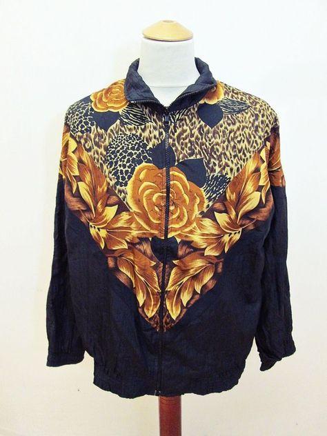 Vintage Floral Unisex Geometric Track Shellsuit Jacket L