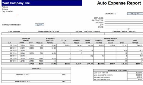 MS Excel Auto Expense Report #Report #ReportTemplate - auto expense report