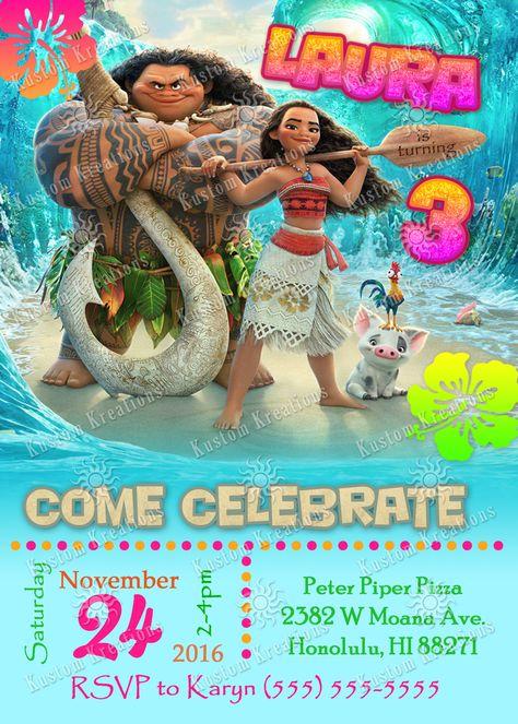 Moana Birthday Invitations Invitaciones De Moana Fiesta