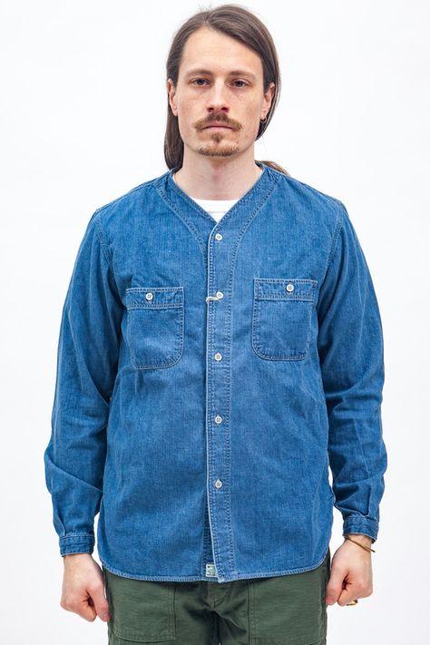 06ec15984b Orslow - No Collar Work Shirt Denim Used