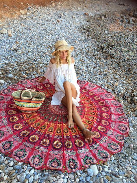 Roundie boho beach red mandala blanket by AUROBELLE on Etsy