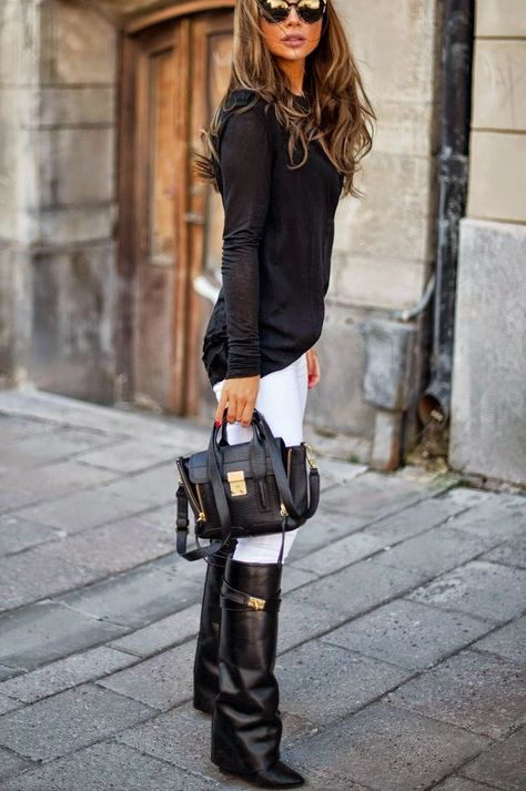 Love this Black and white look- black boots with white jeans. I don't think I would have thought of that but it looks good.