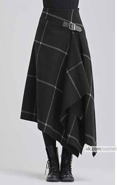 Modern take on a kilt in black with white windowpane pattern - - Kochen - Jupe Mode Outfits, Skirt Outfits, Dress Skirt, Diy Dress, Sewing Clothes, Diy Clothes, Skirt Fashion, Fashion Outfits, Womens Fashion