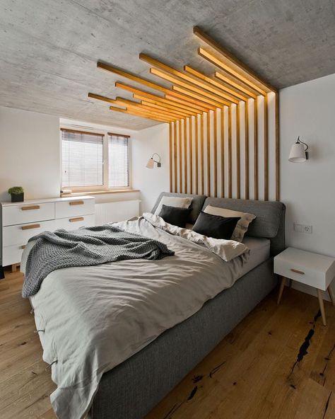 Iluminação diferente para o quarto. #inspiração Pelo designer de interiores Indre Sunklodiene.
