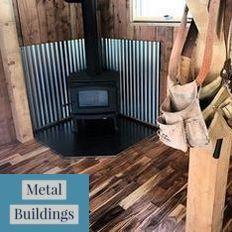 Custom Metal Building Kits Steel Buildings And Shop House Ideas Wood Stove Wall Wood Stove Decor Wood Stove Heat Shield