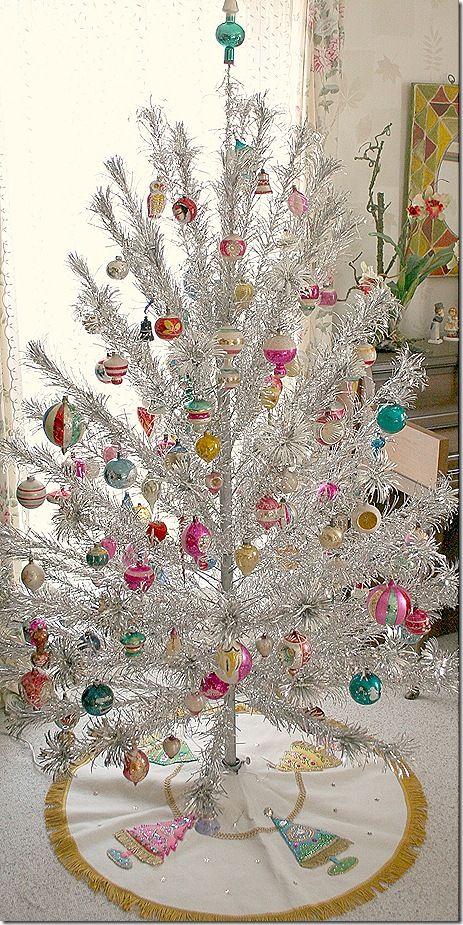 Silver tinsel vintage Christmas tree love...