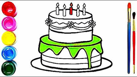 Drawing And Coloring Birthday Cake Dạy Be To Mau Menggambar