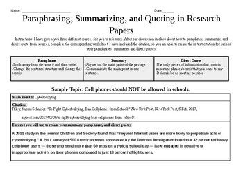 Paraphrase Summarie And Direct Quote In Research Paper Worksheet Quotes V Summary Ppt