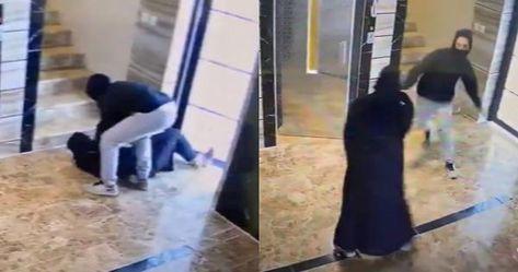 واقعة صادمة كاميرا مراقبة توثق ما فعله شاب ملثم بفتاة في مدخل عمارة بالسعودية