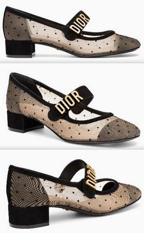 f7d2738eb298 Dior Baby-D Ballet Pump in Black Dotted Swiss