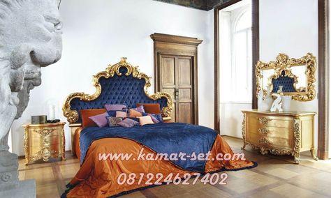 Set Kamar Pengantin Warna Gold Jog Headboard Biru Tua Model
