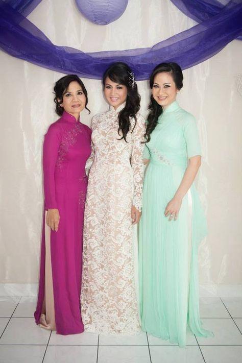 Custom modern Wedding Lace Ao Dai by
