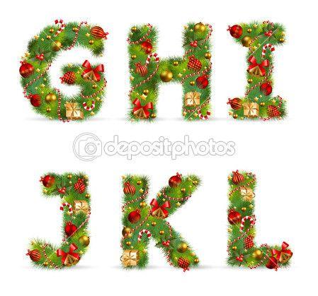 Ghijkl Vector Christmas Tree Font Christmas Lettering Creative Christmas Trees Christmas Alphabet