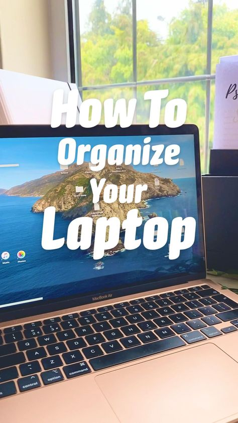 How To Organize Your laptop MacBook with easy aesthetic and functional inspirational wallpaper